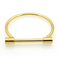 Wholesale Stainless Steel Shackles For Bracelets - Fashion New Stainless Steel Shackle Screw love Bracelet jewelry Cuff Rose Gold plate Bangles Bracelets For Women Love Bracelet