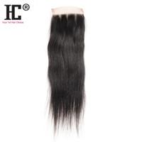 pieza superior de la armadura del pelo al por mayor-Cierre del cordón del pelo de HC El pelo humano virginal sin procesar del 100% Las piezas del cierre recto sedoso brasileño tejen 8