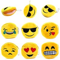 Wholesale Cheap Cute Keychains - FREE SHIPPING by FEDEX EMS UPS 100pcs lot 2016 New Cheap Emoji Coin Purse Cute Mini Cotton Wallet Keychains Keyrings for Girls