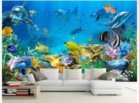 Wholesale Wood Paint Vintage - 3d wallpaper custom photo non-woven mural The undersea world fish Children room painting picture 3d wall room murals wallpaper
