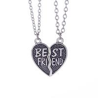 pendentifs pour bateaux amis achat en gros de-BFF Meilleur Ami Cœur Brisé Colliers Argent Antique Cœur Joint colliers Pendentifs pour Femmes Mode bijoux DROP SHIP 161560
