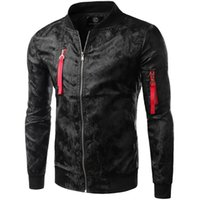 Wholesale Varsity Jacket Designs - Wholesale- New Jacket Men Fashion Design Mens Windproof Zipper Reflective Jacket Men 2015 Autumn Brand Black Slim Baseball Varsity Jacket