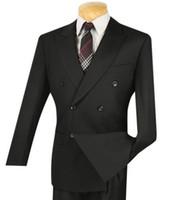 ingrosso vestito classico degli uomini-2018 Men's Black Double Breasted 6 Buttons Classic Gown da uomo Groomsman Dress 2 pezzi (Jacket + Pants) Custom
