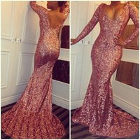 Wholesale Hot Pink Mermaid - Hot Prom Gowns 2017 Sequined Cheap Mermaid Prom Dresses V Neck Long Sleeves Sexy Low Back Sparkling Evening Dresses Sweep Train Custom