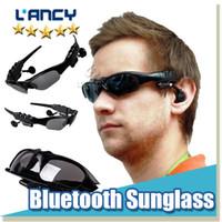 Wholesale palms sun - Bluetooth Sunglasses Headset Sports 3.0 Stereo Wireless Sun Glasses Handsfree Music Call Headphone for iphone samsung HTC Smartphones 2015
