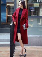 Wholesale Cheap Woolen Coats Women - Red trench coat womens jacket cheap clothing long plus size best elegant wool women turtle neck blends outwear coats ladies warm jackets