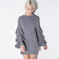 Wholesale Ladies Ruffle Long Dress - 2017092207 Ruffle Layer Sleeves 2017 New Lady Short Dress Brand New Fashion Design O Neck Grey Dress