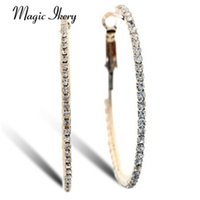 Atacado- Magic Ikery 2017 Rose Gold Cor Rhinestone Crystal Channel Round Big Hoop Earrings Atacado Moda Jóias para mulheres MKY4836
