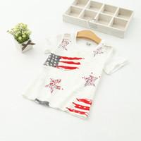 поло белая полоса оптовых-Оптовая Baby Boys Girls Star Stripe американский флаг с коротким рукавом дети футболка белая дыра лето хлопок Поло шею Tee 6389 одежда