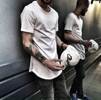 Wholesale Mens Plain Black T Shirt - 2016 Mens big and tall Clothing designer citi trends Clothes T shirt homme Curved hem Tee plain white Extended T shirt Kpop