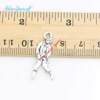 zombi kolye toptan satış-20 adet / grup Antik Gümüş Kaplama Yürüyüş Ölü Zombi Charms Kolye Kolye Takı Yapımı için DIY El Yapımı Zanaat 17x6mm
