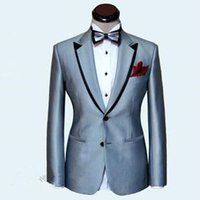 Wholesale Reference Label - Custom Made New Design silver two button peaked label wedding suits for men tuxedos Wedding Suits (Jacket+Pants)