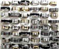 ingrosso anello nero di smalto-Mix Lot 50pcs Anelli in acciaio inossidabile Oro / Argento / Smalto nero MIX Men Rings Lotti all'ingrosso di gioielli di moda