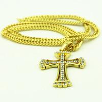 Wholesale white jesus piece resale online - hot Cross Jesus Piece Necklace Women Men Gold Plated crystal Christian Jewelry Jesus Necklace Pendant
