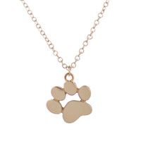 Wholesale Copper Printing Plates - Wholesale Metal 2016 New Choker Necklace Tassut Cat and Dog Paw Print Animal Jewelry Women Pendant Long Cute Delicate Statement Necklaces