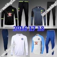 Wholesale Tights Coat - 17 18 Chelsea Survetement soccer sets HAZARD,DIEGO COSTA,OSCAR training suit 16-17 tracksuits tight pants sportswear 2016 coat jacket