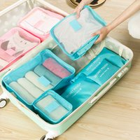 Wholesale Clothes For Travel - 250G Travel Organizer Waterproof Clothing Dress Up Kit Mesh Clothes Storage Bag 6Pcs Set Reusable Space Saver Bags Perfect For Travel