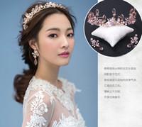 Wholesale Jewelry July - Pink Crystal Wedding Accessories Jewelry Sweet Pink Tiaras Crowns Rhinestones Bridal Tiaras Earrings 100% Real Image 2016 July Style