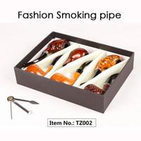 Wholesale smoke pipe gift set - Fashion Gift Wood Color Smoking Pipes Metal & Acrylic Material 6pcs Set Gift Packaging Pipes For Smoking 4 Types TZ001 TZ002 TZ004 TZ005