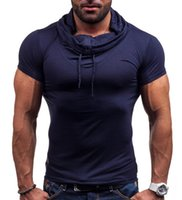 Wholesale Ralph Hooded - 2017 T shirt men Hooded Short sleeve T-shirt Tight gym clothing gymshark tshirt Homme Summer Sport Fashion Solid Man T-Shirts hight quality