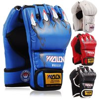 Wholesale Glove For Muay Thai - Half Finger MMA Grappling Gloves Muay Thai Boxing Training Mittens for Strength Training PU Punching Bag Gloves