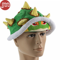 Wholesale Costume Bowser - New Super Mario Bros Koopa Bowser Jr. Soft Plush Hat Cosplay Costume Cap Green Adults Gifts Toy Unisex 65cm Free Tracking