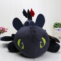 EM STOCK 55cm Night Fury Plush Toy Como treinar seu Dragon 2 Dolls de pelúcia sem dentes no saco opp