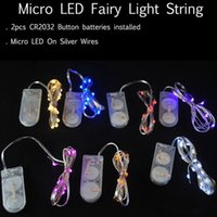 Wholesale Thin Wire String Lights - 2M 20LEDs led string CR2032 Battery Operated Micro Mini LED String Light Copper Silver Wire Starry Light String For Decoration wedding Party