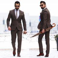Wholesale Two Piece Men S Pants - 2018 Two Pieces Mature Men Suits Plus Size Groom Wear Tuxedos Cheap Brown Mens Wedding Suit Custom Made