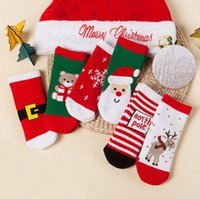 Wholesale Wholesale Red Baby Socks - Wholesale New Thichen Cotton Winter Socks children Christmas Socks cute Cartoon red baby socks 1lot=6pairs=12pcs kids sock