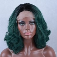 Wholesale Remy Half Wigs - New Arrival Heat Resistant Dark Green Color Medium Wavy Hairstyle Synthetic Lace Front Wigs For Women