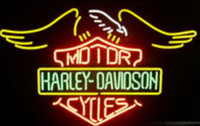 Wholesale D Signed - NEW Harley D avidson Glass Neon Sign Light Beer Bar Pub Sign Arts Crafts Gifts Sign 19X19""
