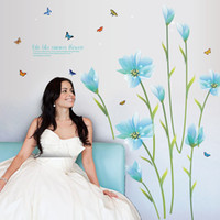 Wholesale wall sayings for home - Romantic Lily Wedding Room Decoration Wallpaper Poster Blue Flowers Wall Stickers Home Decor Wall Quote Saying Wall Decals DIY Wall Poster