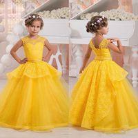 kızlar için sarı etekler toptan satış-Sarı Dantel Çiçek Kız Elbise Çocuk Sheer Boyun Katlı Etek Peplum Kızlar Pageant Elbise Lace Up Prenses Çocuklar Doğum Günü Elbise ...