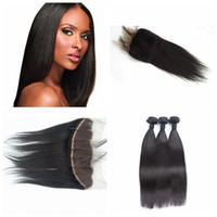 Wholesale malaysain hair weave for sale - Group buy 13x4 Lace Frontal With Bundles Malaysain Human Hair Lace Frontal Closure With straight Bundles Can be Dyed and Bleached natural black G EASY