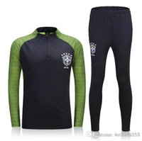 Wholesale Men Tight Football Shorts - 2016 Brazil suit training suits Uniforms shirts Chandal NEYMAR JR football tracksuits Survetement long sleeve tight pants With zipper