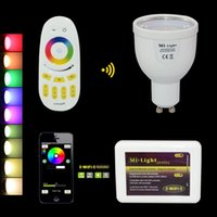 Wholesale Mr16 Cw - GU10 110V 220V Mi Light 2.4G Wireless Lampada Led MR16 12V 6W Dimmable LED Bulb Lamp W CW RGBWW   RGBW RF Remote Wifi APP Controller