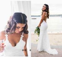 Wholesale Spaghetti Open Back Wedding Dress - 2018 Bohemian Beach Lace Wedding Dresses Novia Sexy Mermaid Spaghetti Straps Backless Open Back Bridal Gowns