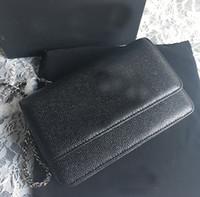 büyük siyah mavi toptan satış-Ücretsiz kargo ünlü marka orijinal WOC dana derisi mini tipi zincir flap büyük c havyar croosbody çanta kadın çantası siyah kırmızı mavi