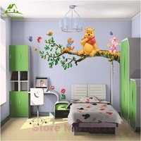 Wholesale Winnie Pooh Sticker Wallpaper - Wholesale- Animal cartoon Winnie Pooh vinyl wall stickers for kids rooms boys girl home decor wall decals home decoration wallpaper kids