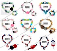 bubblegum mücevher boncukları toptan satış-Bebek Boncuk Bubblegum Kolye Takı Çocuklar Renkli Inci Boncuk Kolye + Bilezikler Kızlar Parti Takı Aksesuarları Üzerinde 60 stil ücretsiz seçin