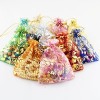 Wholesale Printed Organza Bags Wholesale - Drawable Organza Bags Printing Drawstring Golden Rose Pouches Jewelry Packing Wedding Pouches Party Festival Favor Gift Candy Bags 9x12cm