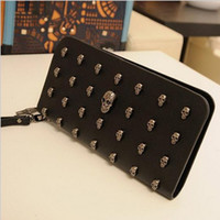 Wholesale Black Punk Purses - 2015 The Punk skulls rivet women wallets leather large wallet lady purse brand clutch bolsas femininas carteira purse 81026