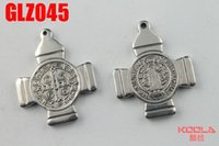 Wholesale Saint Stainless - KUNAFIR Stainless steel pendants Men boy's lady birthday party presents cross shaped Saint Benedict GLZ045