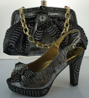 Wholesale Career Dresses For Women - 2016 High Quality African Perfect Matching Shoes And Bag Set,Fashion style Shoes And Bags for women black gold yellow red