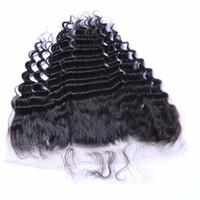 saçlı ön kapak toptan satış-7A Tam Dantel Frontal Kapatma 13x4 Derin Kıvırcık Dalga Perulu İnsan Saç Kulağa Üst Dantel Frontal Adet Toptan Fiyat