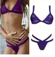 Wholesale Womens Orange Swimwear - 2015 Womens Bandage Push-up Bikini Set Padded Bra Triangle Swimsuit Swimwear