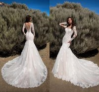 BOHO Pallas Haute Lace Mermaid Beach Abiti da sposa Sheer Jewel Neck Manica lunga Illusion Back Bodycon Abiti da sposa da sposa di alta qualità