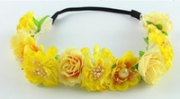 Amarillo pequeña flor Forehead Pelo playa Wedding Wreath Head Band Niñas bebé Hairband Bandas Festival Tiara