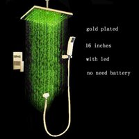 Wholesale concealed shower set gold plating inch led rain shower with inches massage shower jets for bathroom